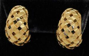 Tiffany & Company 1989 heavy 18K yellow gold woven clip-on earrings