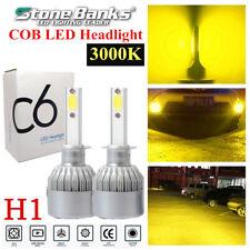 2pcs H1 Amber Yellow COB LED Headlight 100W 20000LM 3000K Hi/Lo Beams Light Bulb