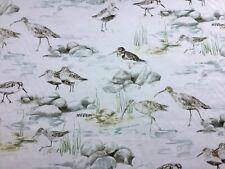 Sanderson Curtain Fabric 'Estuary Birds'' 105cm Mist / Ivory 100% Cotton