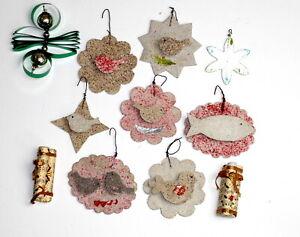 11 Vintage Venetian Dew cardboard,glass,Christmas Ornaments.Germany.