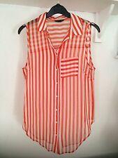 Waist Length Chiffon Blouses Striped Tops & Shirts for Women