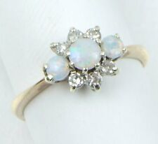 9CARAT 9ct YELLOW GOLD OPAL & DIAMOND CLUSTER RING, Size M, 2.0 Grams