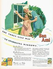 1920s BIG Vintage Bon Ami Cleaning Powder Maid Art Print Ad c