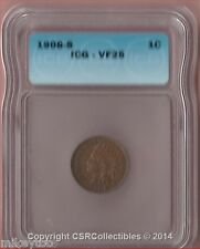Indian Head Cent - 1908 S - KM# 90a - ICG VF25