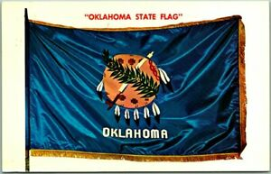 Vintage OKLAHOMA STATE FLAG Postcard w/ 1966 OKC OK Cancel