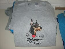 New I Love My Doberman Pinscher Embroidered T-Shirt Add Name For Free