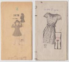 ANTIQUE GIRLS COAT/DRESS INSTRUCTOR PAPERS FOR SEWING PATTERNS 3878 AND 4751