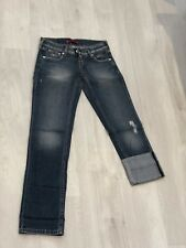 Levis Womens Girls Jeans New Turn Ups Ripped Vintage Fitted Size 8 Slim Denim