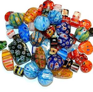 G4443 Assorted Color Mixed Shape 4mm - 20mm Millefiori Flower Glass Bead Mix 2oz