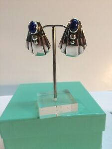Rare David Dear Sterling Fanned Earrings With Lapis