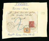 Italy Stamps 1896 Cover w/ Postage Due Clean Small Registered Cover Scarce