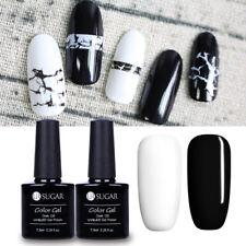2pcs Pure Black & White Gel Nails Soak Off Gel Polish UV LED Nail Art Manicure