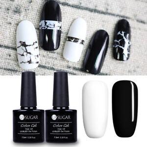 2bottles UR Sugar Nail Art Gel Polish Soak Off Gel UV LED  Black White Color