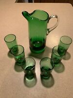Anchor Hocking Forest Green Roly Poly Juice Glasses w/ Pitcher