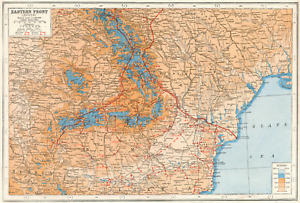 WW1  EASTERN FRONT.Romania Hungary Ukraine Moldova battle lines 1916 1920 map