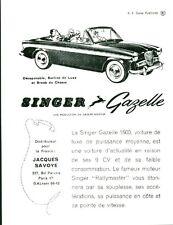 Publicité ancienne voiture SINGER GAZELLE 1500 - 1959 issue de magazine