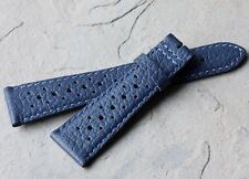 Contrasting stitching 22mm blue lightly padded rally strap vintage NOS 1960s/70s