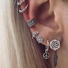 JT_ 7Pcs/Set Dream Catcher Leaf Ear Cuff Stud Earrings Women Vintage Jewelry N