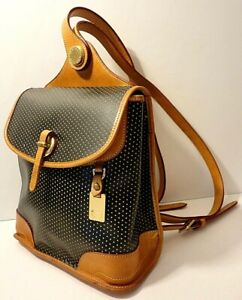 Dooney & Bourke Polka Black Tan Leather Backpack Shoulder Purse Bag Tag Charm
