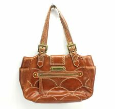 Isabella Fiore Brown Leather Purse Shoulder Bag Buckle Stitch Scallop Broguing