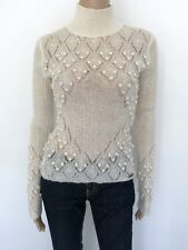 GALLIANO Size S Beige White Cable Knit Turtleneck Pom Pom Sweater Top Women eaf009021