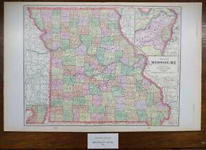 """Vintage 1902 MISSOURI Map 22""""x14"""" Old Antique Original JEFFERSON CITY ST LOUIS"""