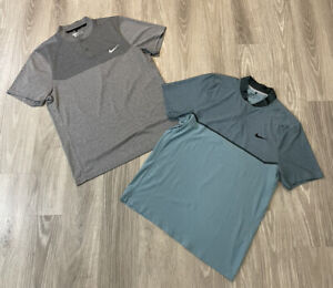 Lot Of 2 NIKE GOLF Men's Modern Fit Dri-Fit Fly Blade Polo Shirts Size Large