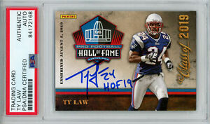 Ty Law Autographed/Signed 2019 Panini Hall Of Fame Trading Card HOF PSA 32993