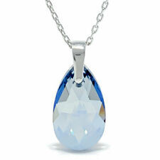 Pendant Necklace w Grey Blue Shade Pear Crystals from Swarovski Rhodium Plated