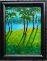"""Original Oil Painting by Tanja Ware. Landscape Boats Water Tree 12"""" x16"""" Framed"""