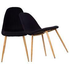 Esszimmerstuhl 2er Set mit Stoffbezug schwarz Küchenstuhl Retro Schalen Design