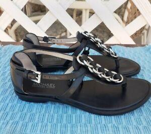 MICHAEL Kors Gladiator Thong Black Leather Sandals Shoe Size 7.5M (C-11-05)
