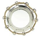 "Large Roped Porthole Mirror - 33"" Diameter -  Aluminum"
