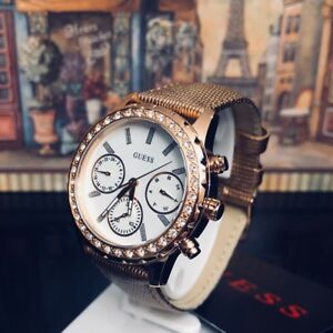 AUTHENTIC GUESS LADIES' MELODY ROSE GOLD TONE WATCH U0903L3 RRP:$379 Brand New