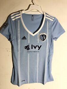Adidas Women's MLS Jersey Kansas City Sporting Team Light Blue sz L