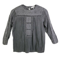 Lucky Brand Womens Top M Gray Embroidered Blouse 3/4 Sleeve Shirt Cotton Eyelet