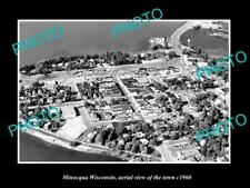 OLD LARGE HISTORIC PHOTO MINOCQUA WISCONSIN, AERIAL VIEW OF THE TOWN c1960