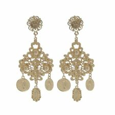 Baroque Tribal Rare Coin Virgin Mary Gold Tone Dangle Earrings For Women Jewelry