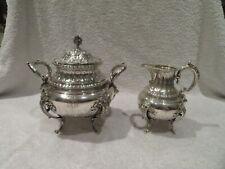 Outstanding french sterling silver sugar bowl & creamer Louis XVI st Boulenger
