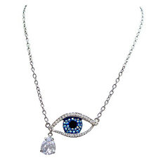 Butler and Wilson Crystal Enamel Eye Pendant Necklace NEW