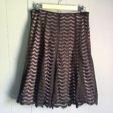 Apt 9 Brown Lace Overlay A-line Skirt Midi Length Sz 10