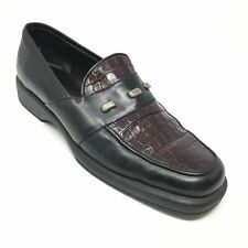 Women's Sesto Meucci Loafers Shoes Size 7.5M Black Brown Leather Croc Print AD9