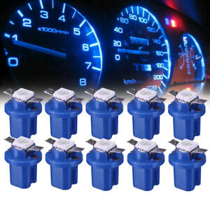 10x Universal Blue T5 B8.5D Car Dashboard Instrument Interior LED Lamp Bulbs
