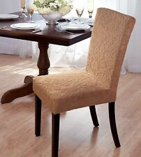 """LOW PRICE""  DAMASK ""STRETCH"" VELVET DINING CHAIR COVER--BEIGE-AVAIL IN 3 COLORS"