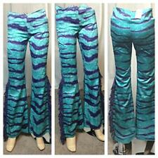 Vintage 90s BNWT MOSCHINO zebra print turquoise purple bell bottom pants