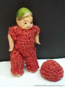 Vintage Celluloid Jointed Baby Doll Red Crochet Clothes Hat Doll House Child Toy