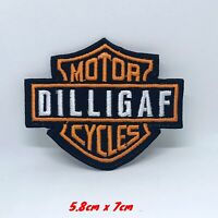 DILLIGAF Motor Cycles Logo Iron or Sew on Embroidered Patch applique
