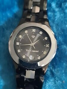 Vintage Mens YVES CAMANI TUNGSTEN WOLFRAM Date Crystal Set Quartz Bracelet Watch