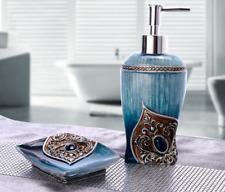 2Pcs Noble Peacock Bathroom accessories set Resin Soap dish&Dispenser Decor Gift