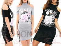 Womans Cold Shoulder Reckless Floral T Shirt Mini Dress Side Eyelet Lace Up Top